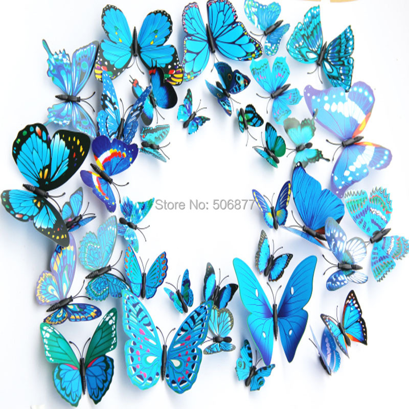 Free shipping - 12PCS,  3D Artficial Butterfly Wedding Decoration /Fridge Magnet / Refrigerator Magnet Butterfly