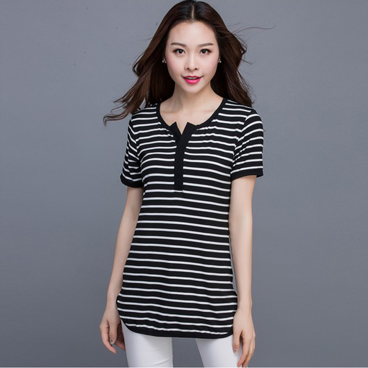Women Summer Show Thin Big Joker Black And White Striped Shirt With Short Sleeves Frock V-Neck Shirt(China (Mainland))