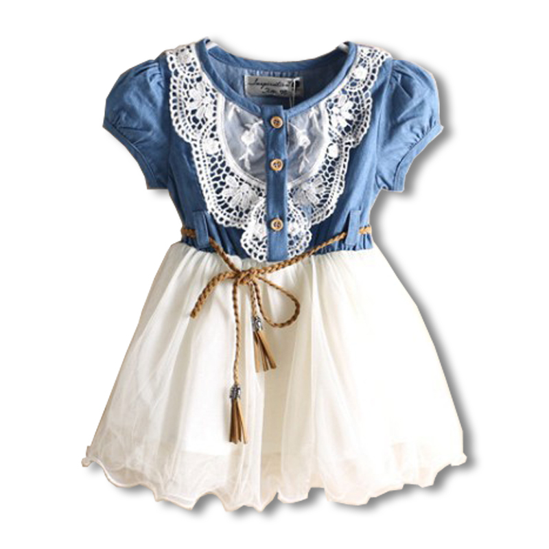 Top Girls Dress Children's Clothes Voile Short Sleeve Dress Baby Girls Clothing Set Wholesale Baby Girls Clothes Retail AA888(China (Mainland))