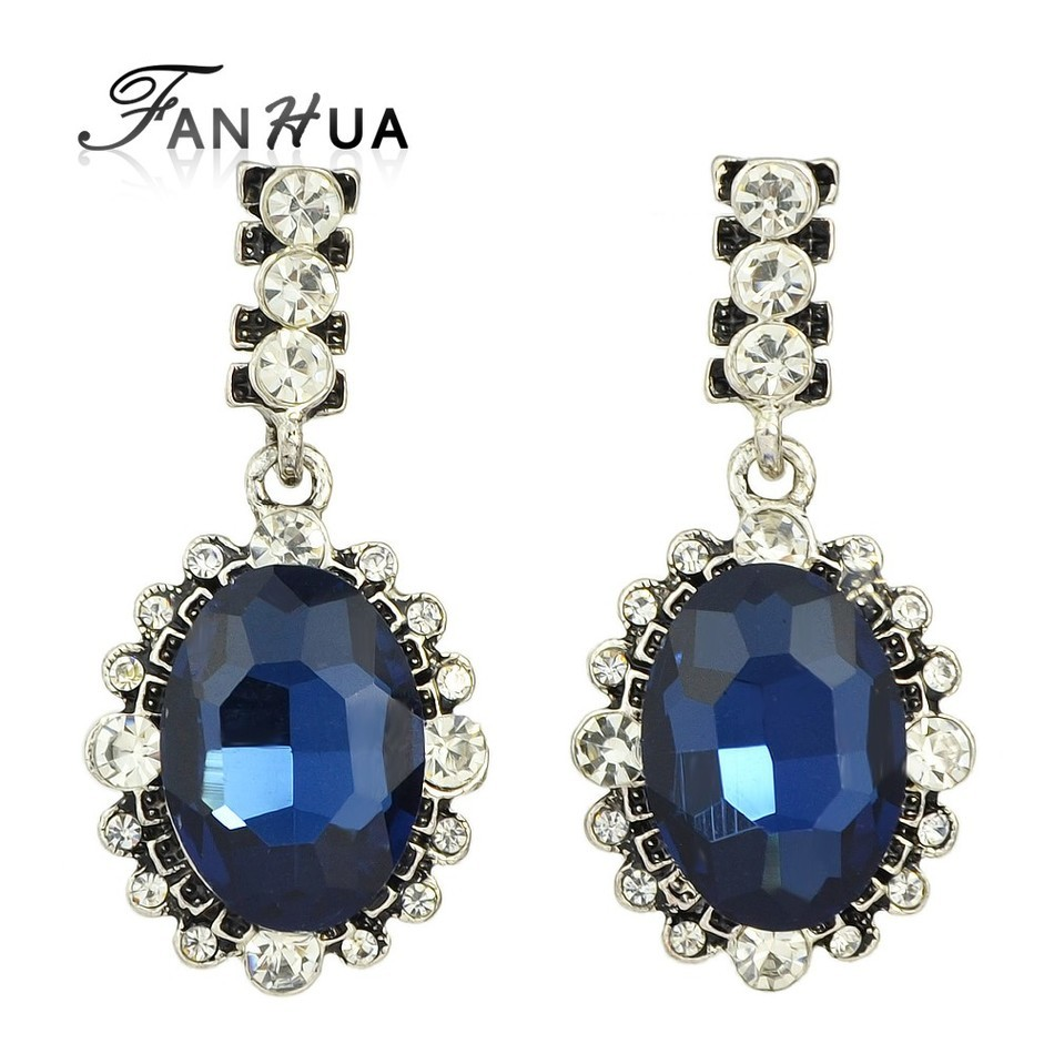 Fanhua 2016 New Antique Silver With Rhinestone Blue Crytal Water Drop Earrings  Costume Jewelry Brincos Luxury