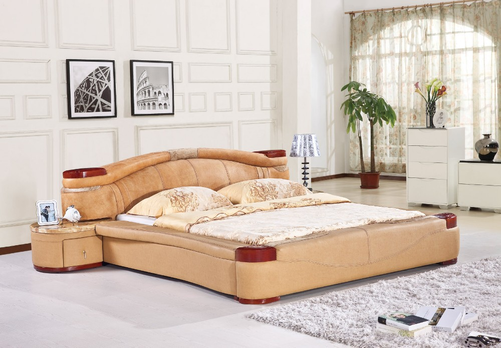 America Modern Bedroom Leather Bed H8085 Lizz Bed Hot Sale Bedroom Furniture Leather Soft Bed