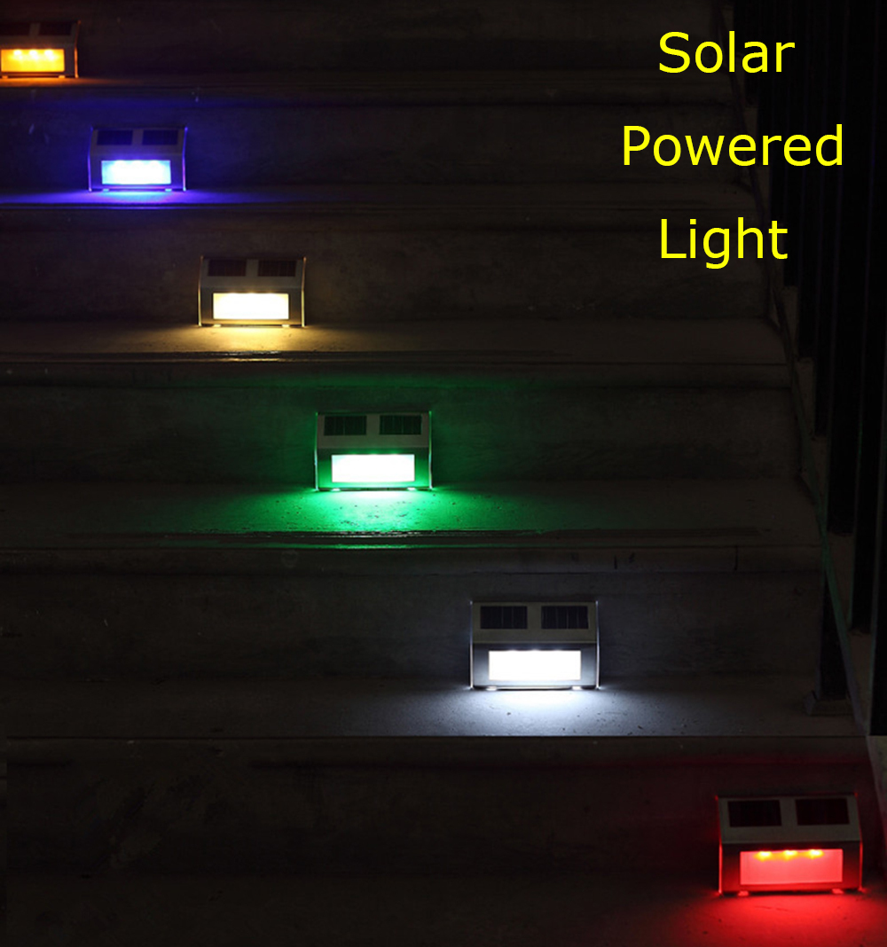 led solar powered light path stair outdoor garden yard fence wall. Black Bedroom Furniture Sets. Home Design Ideas