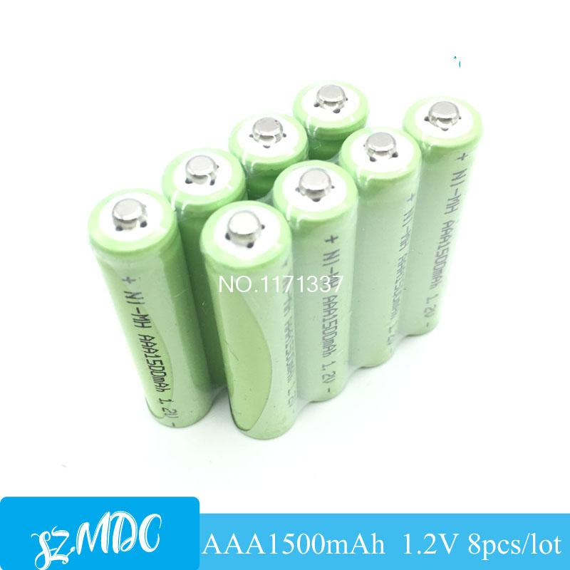 Wholesale 8pcs AAA battery AAA 1500mAh 1.2V Ni-MH Rechargeable batteries flashlight battery for toy remote control Free shipping(China (Mainland))