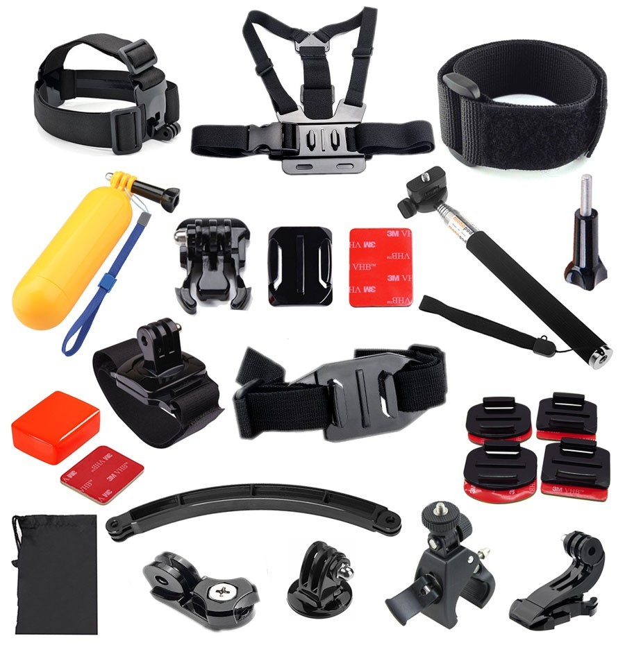 GoPro accessories Set Kit Bobber Chest Belt Head Mount Strap Monopod For Go Pro Hero 4 2 3+ sjcam SJ4000 Camera Accessories GS44<br><br>Aliexpress