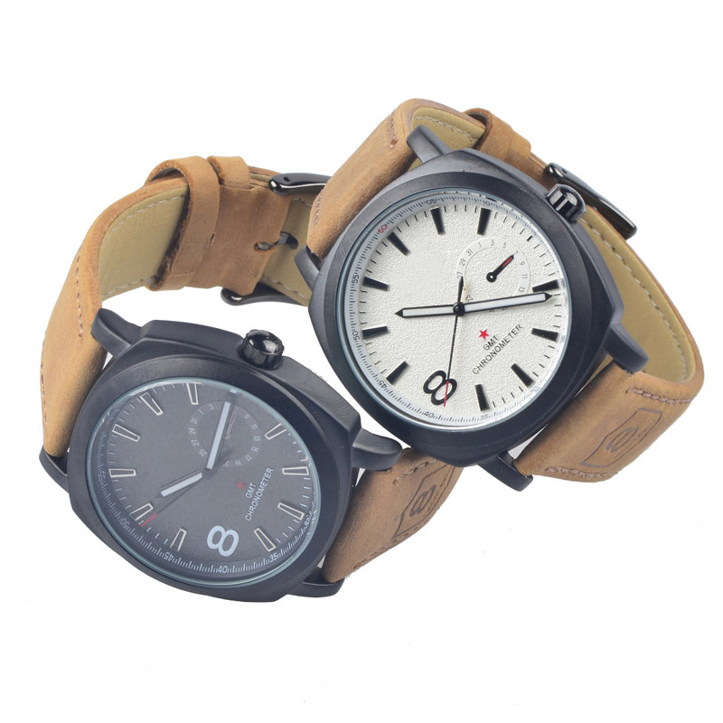 2015 fashion Quartz watch Men Watches Military Watches Men Corium Leather Strap army wristwatch relogio masculino