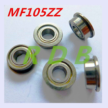 Free Shipping 10pcs/lot MF105 MF105ZZ 5*10*4 Miniature Flange Deep Groove Ball Radial Ball Bearings(China (Mainland))