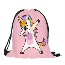 Gril's смешной Единорог сумки 2 шт. горячая Распродажа Высококачественная 3D цифровая сумка со стягивающим шнурком и напечатанным текстом ребе...(China)