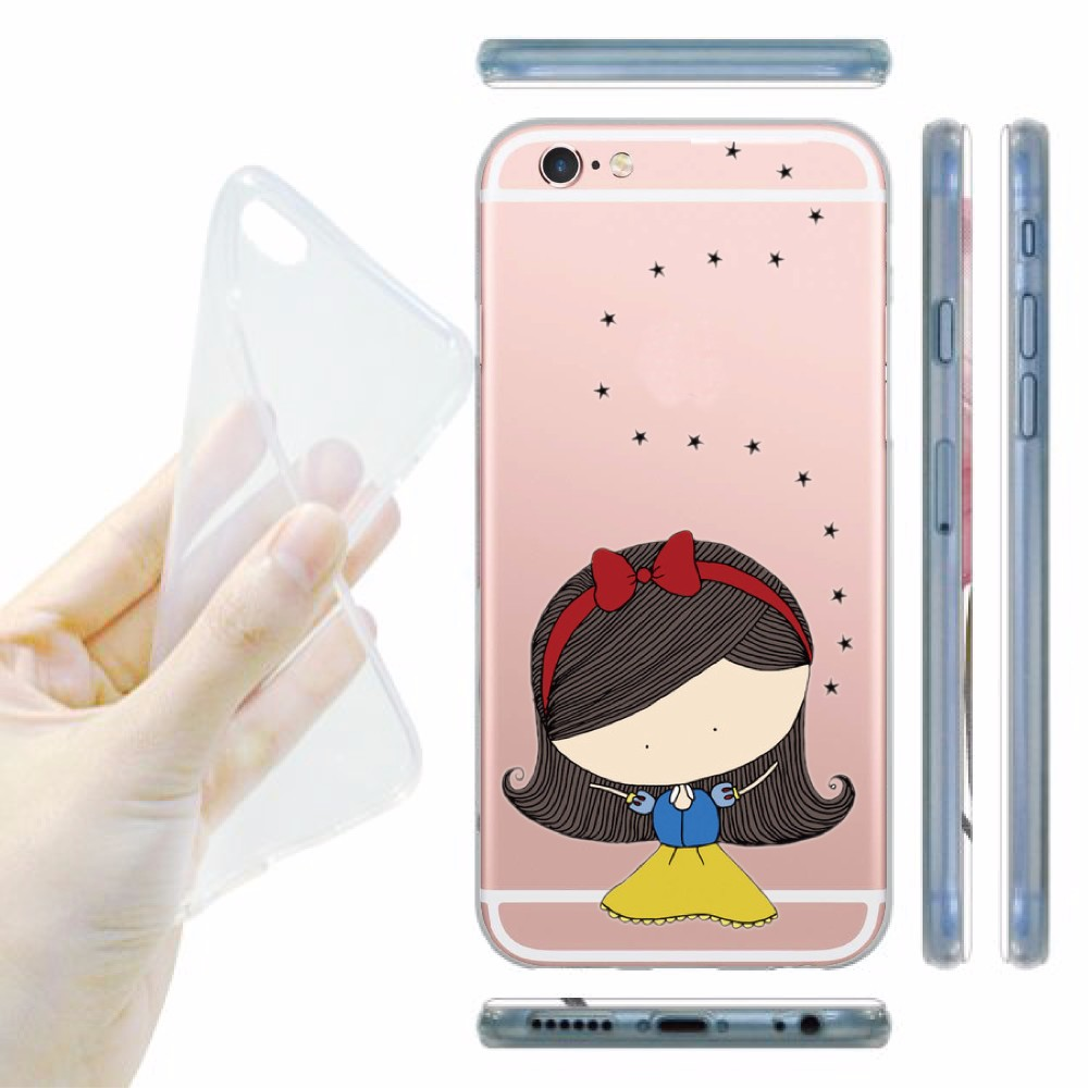 Lovely Cartoon Girl And Unicorn Pattern Clear Silicon Gel Mobile Phone Case for iphone 6 6S 6 Plus Soft Transparent Capa Cases