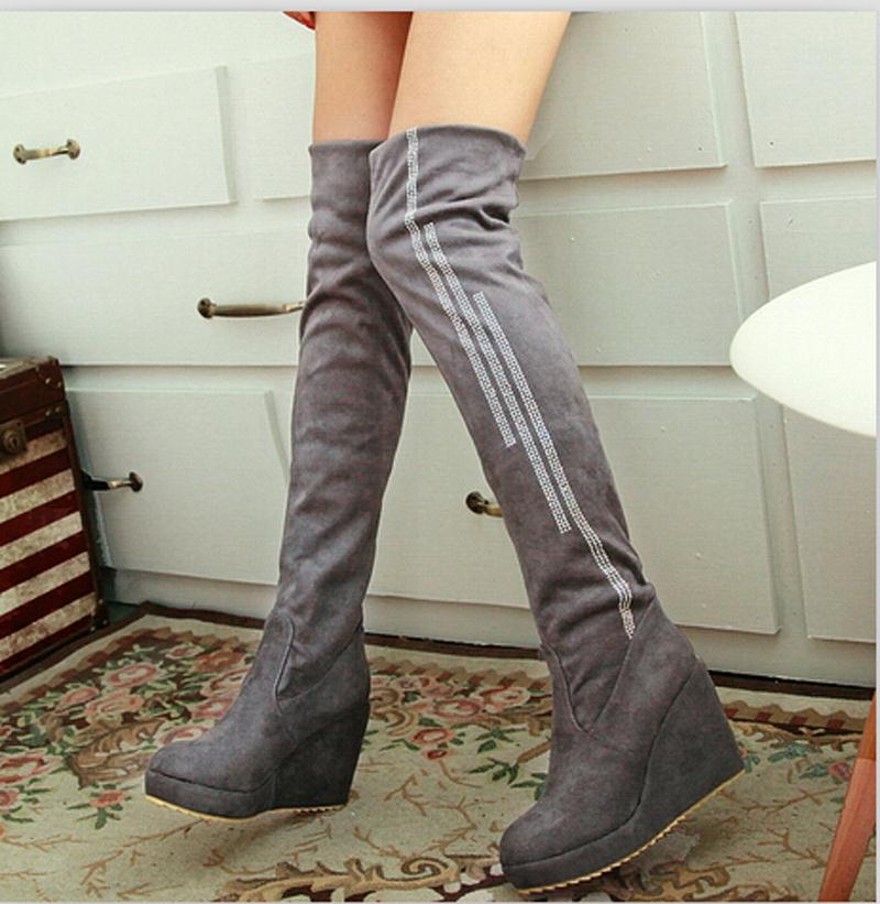 long boots Women Over the Knee Boots for Women Casual Dress Sexy Patent Suede Charm High Heels Platform Winter Boots<br><br>Aliexpress