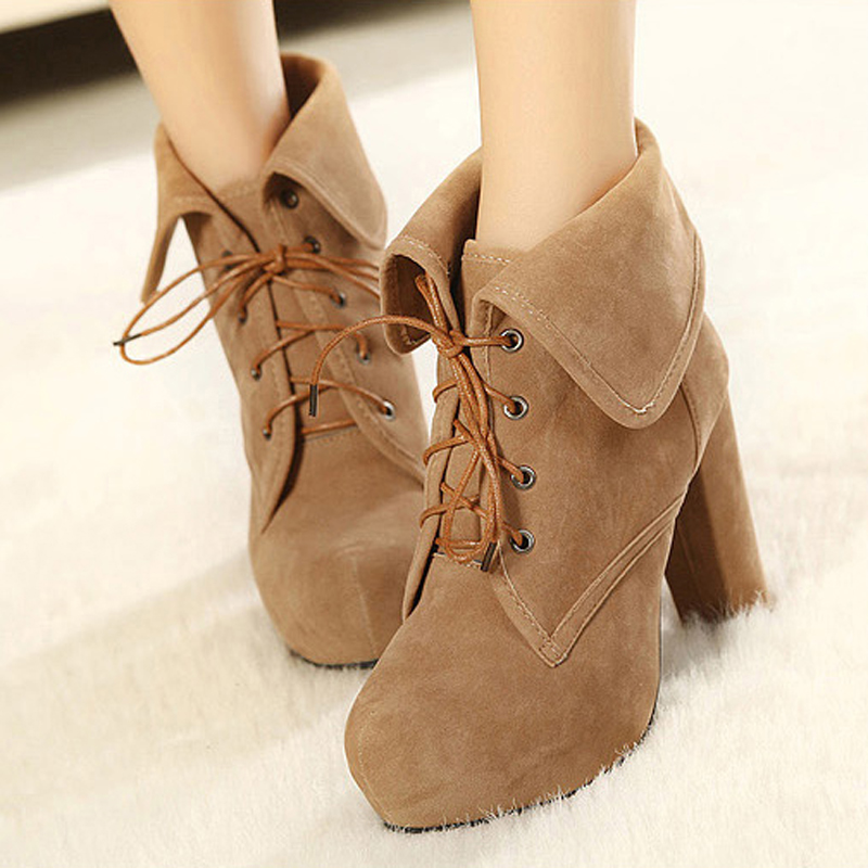 NEW 2014 Winter Women's Thick heel Martin boots Autumn Platform shoes Pumps Ankle boots High heels Free shipping 006