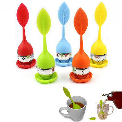 1 pc Food-grade Silicone & Stainless Steel Leaf Tea Leaf Strainer Herbal Spice Infuser Tea Filter(China (Mainland))