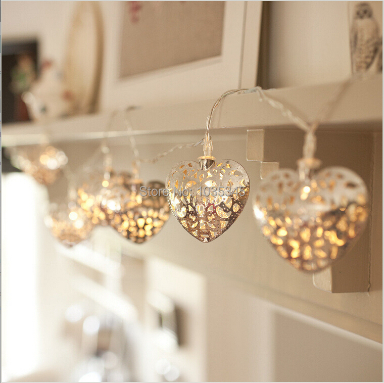 3.3M 20LED Battery Operated Silver Heart LED Fairy Lights String Decoration Light Festival Halloween Christmas Party Wedding - SUNWAY OPTOELECTRONIC CO., LTD store