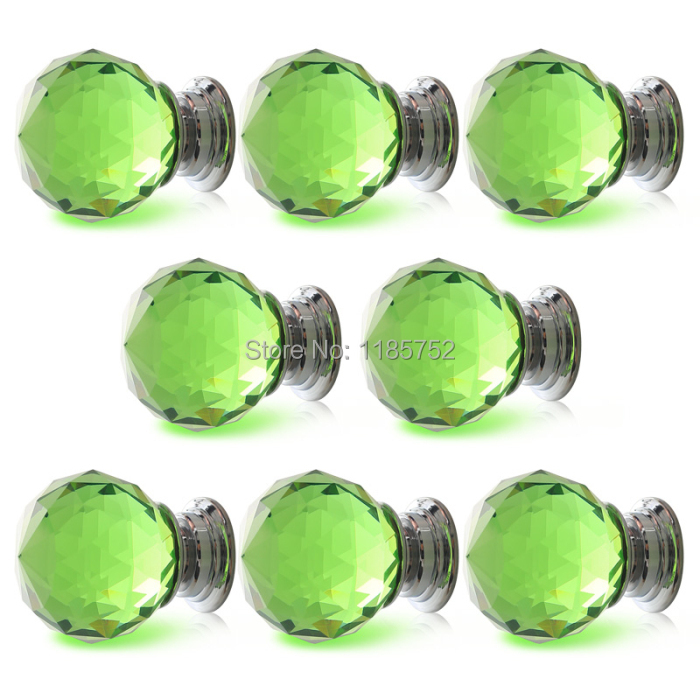 New 10PCS Diameter 40mm Sparkle Green Glass Crystal Cabinet Pulls Drawer Handles Kitchen Door Wardrobe Cupboard Knobs(China (Mainland))