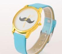 2014 Best selling series men relojes personalidad bigote relojes venta al por mayor / multicolor cuarzo correa de la señora reloj shiping libre