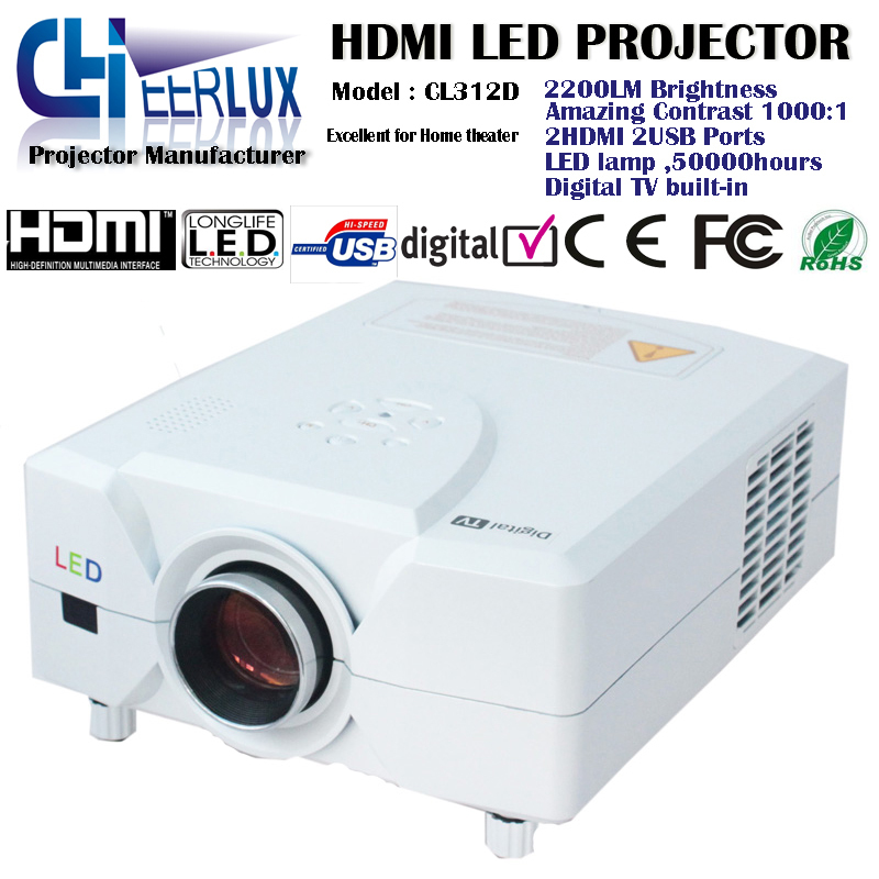 """New technology portable audio video player projector with usb & hdmi & led lamp & lcd panel support 180"""" inch screen & 1080p(China (Mainland))"""