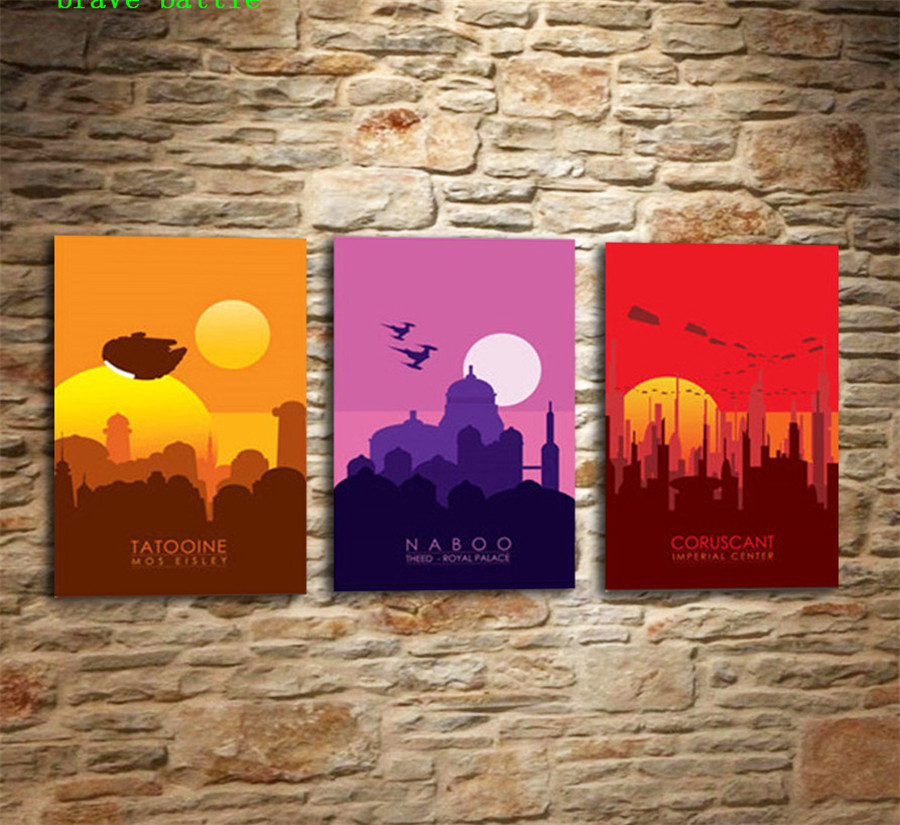 Force Inspired Star Wars Skyline Series 3pieces Canvas Painting Print Living Room Home Decor Modern Wall Art Oil Painting Poster Painting Calligraphy Aliexpress