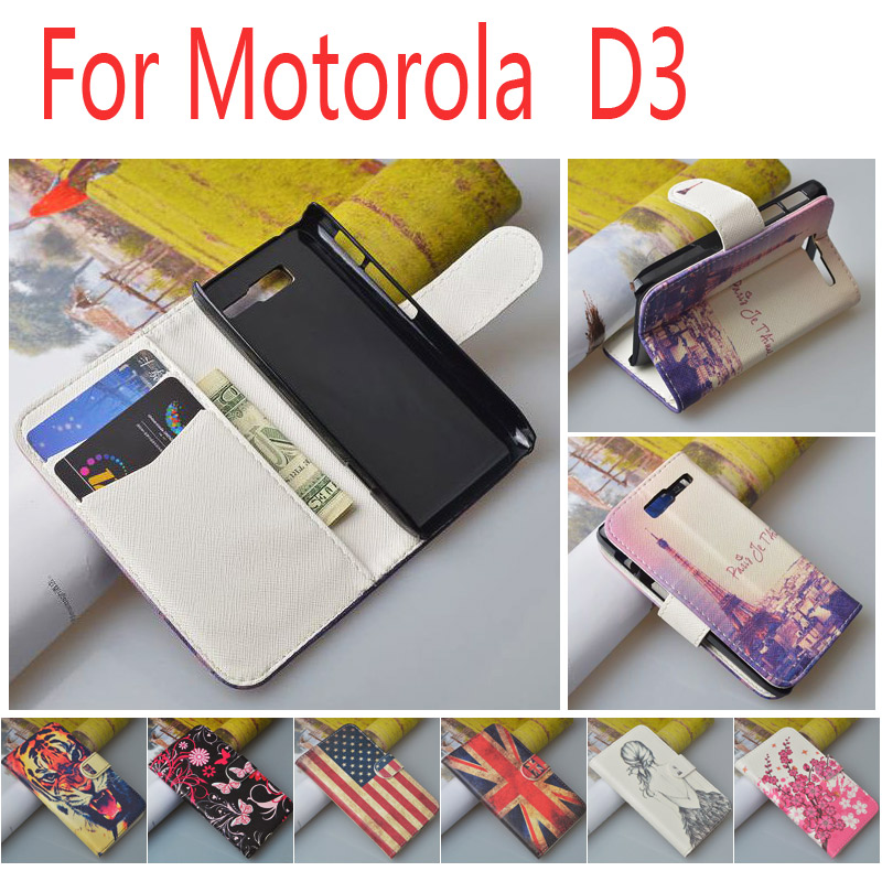 Luxury Painted Flip PU Leather case for Motorola RAZR D3 XT919 XT920 Wallet Cover with ID Card Holder JR-LR-P(China (Mainland))