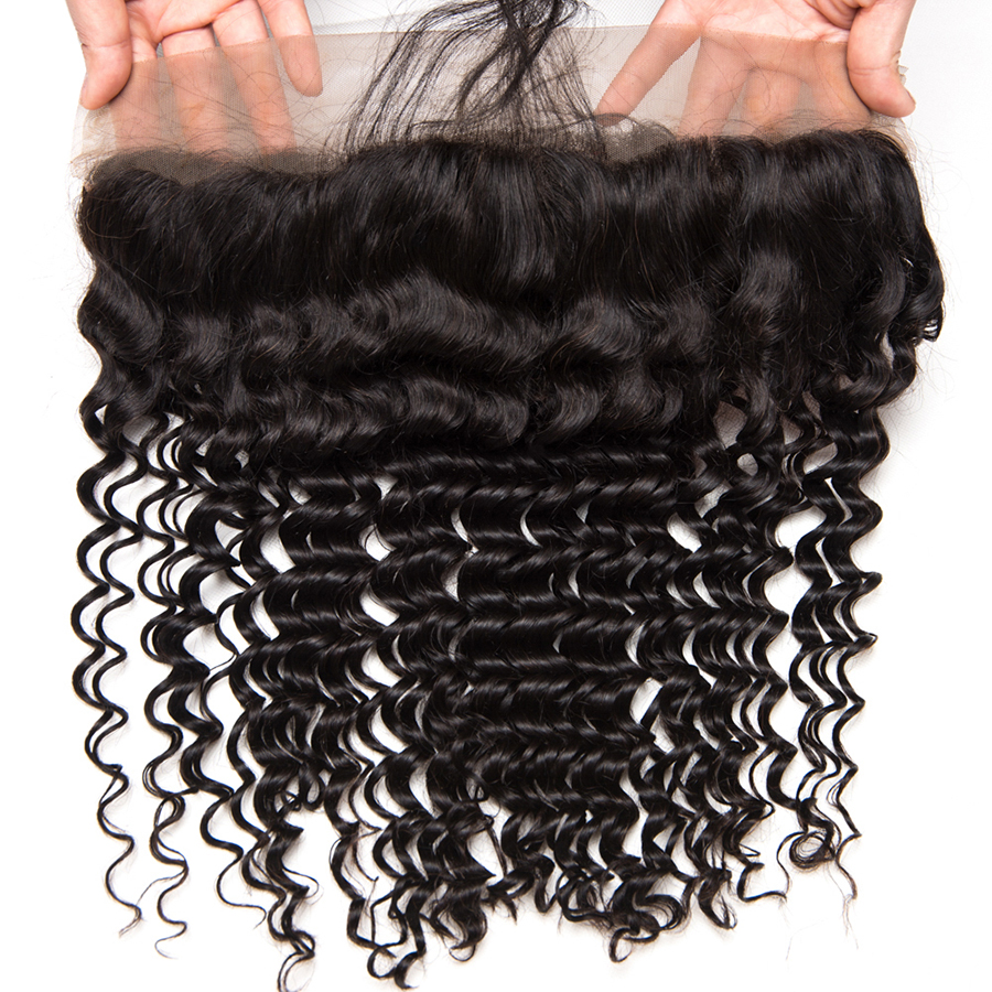 Wonder girl Brazilian Deep Wave Ear To Ear Pre Plucked Lace Frontal Closure Remy Hair 100% Human Hair Frontal With Baby Hair