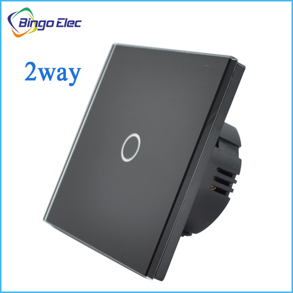 1gang 2way stair switch,black crystal toughened glass panel touch sensor switch EU/UK standard AC110-250V Free shipping(China (Mainland))