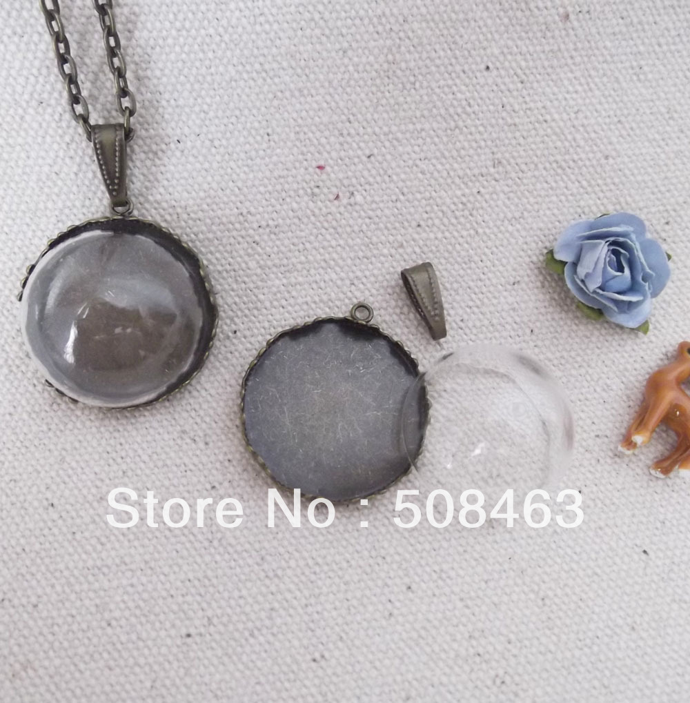 Free Ship! *set* 100sets/lot 25mm Glass dome (25mm opening) &amp; one base &amp; one bail connector set glass bottle vials pendant DIY<br><br>Aliexpress
