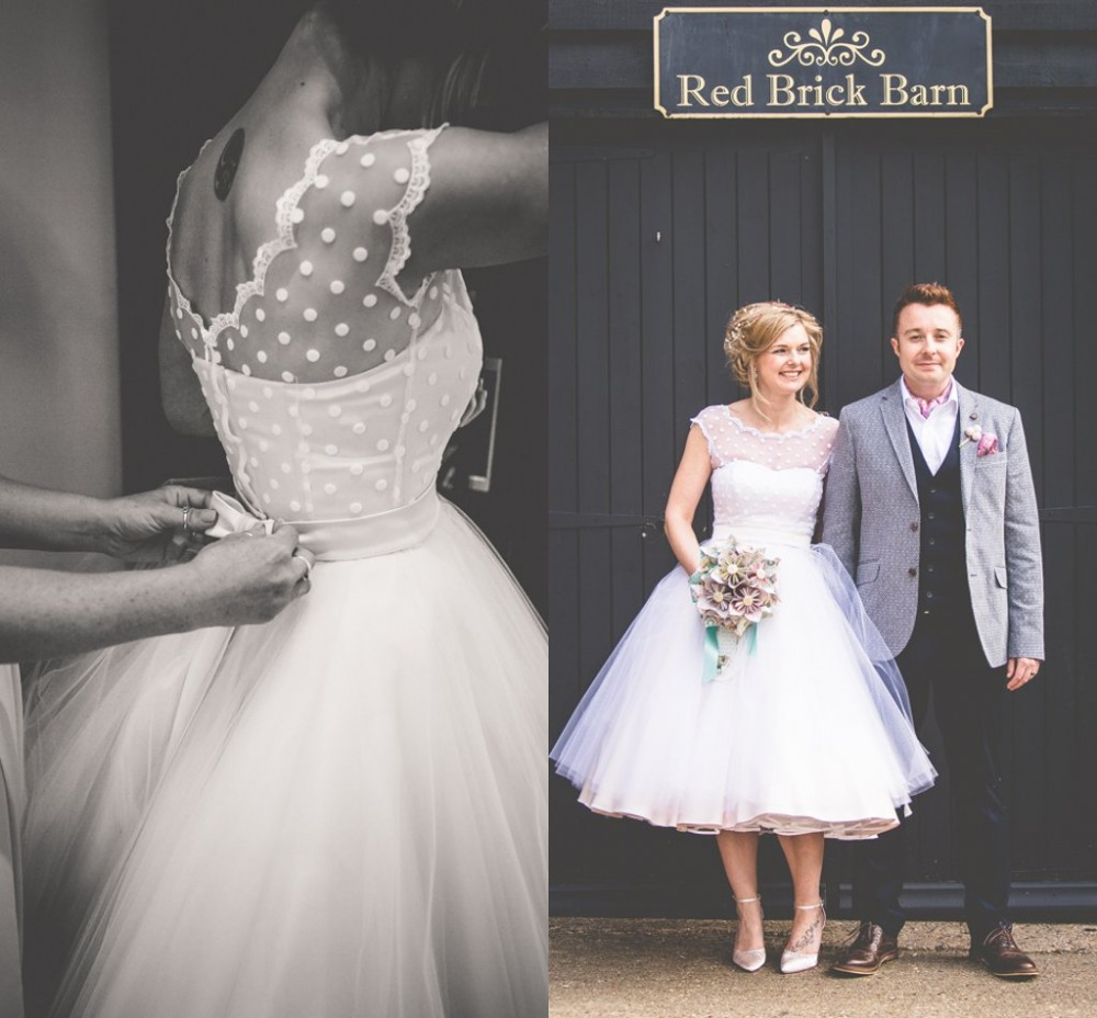 Vintage 1950s Style Polka Dotted Short Wedding Dress | Wed Direct