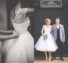 Vintage 1950s Style Polka Dotted Short Wedding Dress