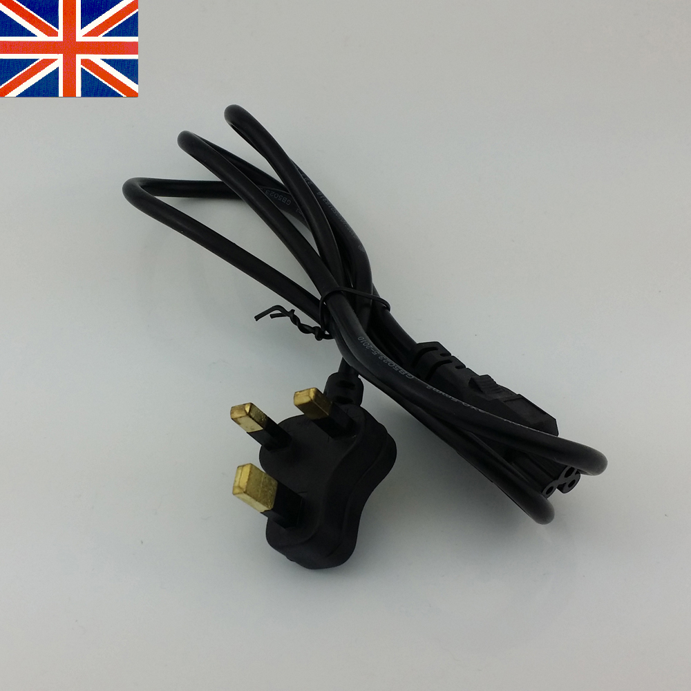3-Prong UK Plug 1.2Meter 4Feet Power Line 3 Pin Cable cord for laptop PC(China (Mainland))