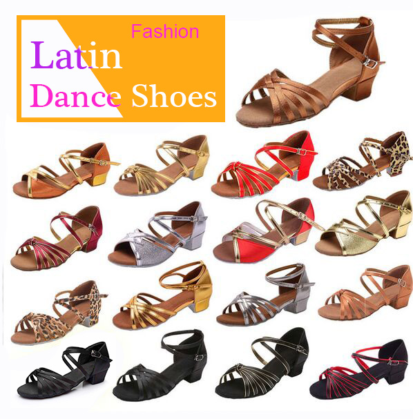 Ballroom Salsa tango latin <font><b>dance</b></font> <font><b>shoes</b></font> low heels dancing for kids girls children women ladies free shipping in stock