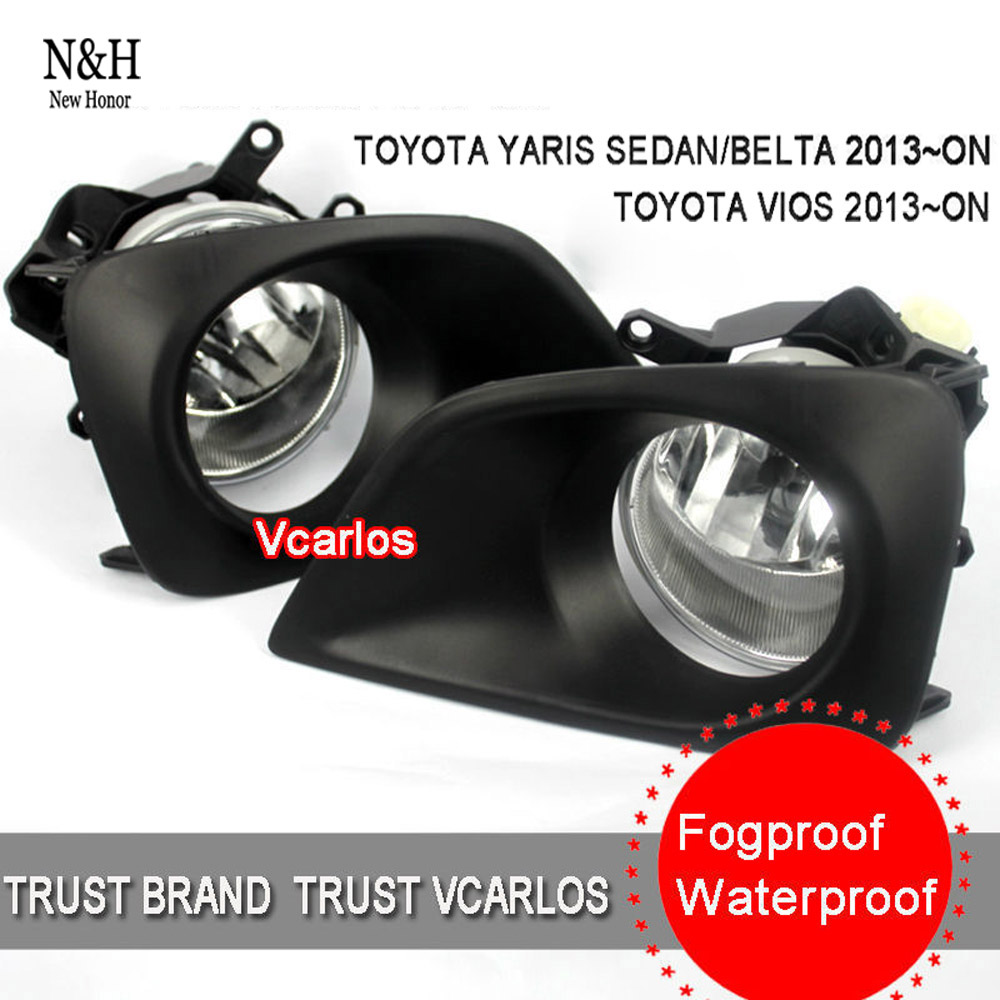 Free shipping high quality halogen fog lights lamp set Toyota Vios 2013~ON with clear lens wiring kit(China (Mainland))