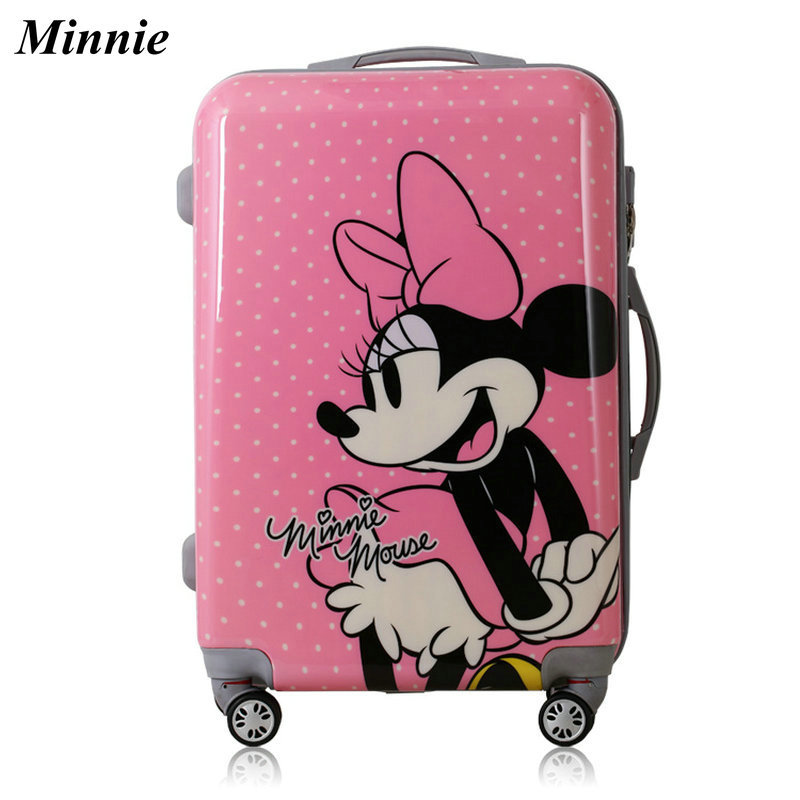 Cartoon Minnie pattern Suitcase ABS+PC Universal Wheels Luggage Fashion Trolley Luggage Travel Bag 20