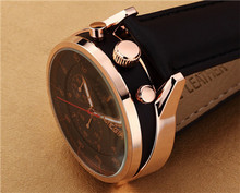 New Design Header 100 Genuine Leather Quartz Watches Water Resistant Multi Functional Small Dial Work Watches