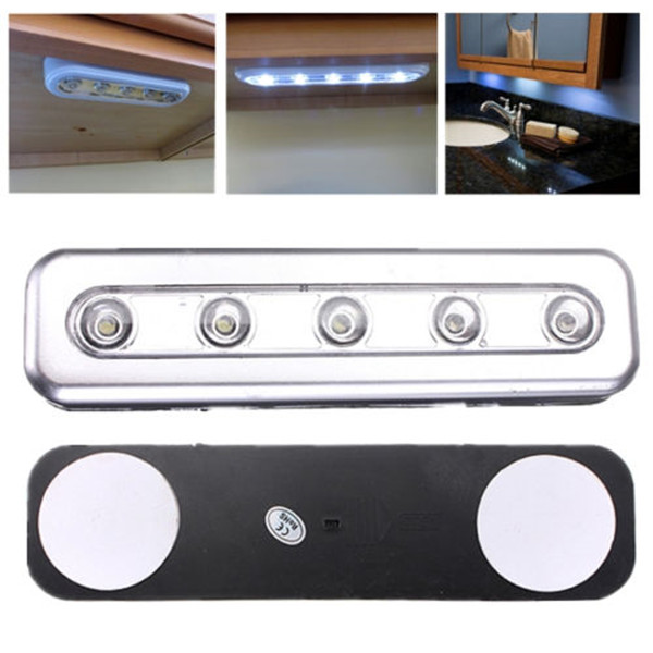 1X Stick On 5 LED Night Light Push Touch Tap Night Light Kitchen Closet Under Cabinet Wardrobe Night Lamp Battery Power Bright
