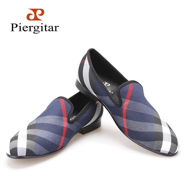 Piergitar синий и белый плед парусиновые туфли люксовый бренд мужчины мокасины черная ...