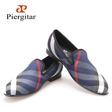 Piergitar Blue and white plaid canvas shoes Luxury brand men loafers black pig leather insole men 's casual shoes men's flats (China (Mainland))