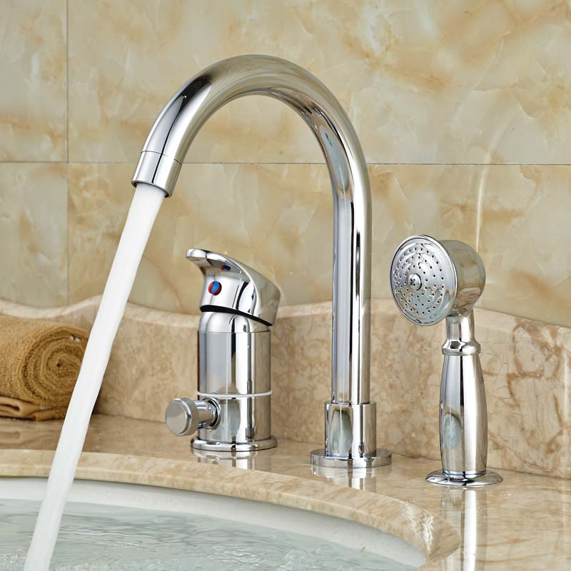 Фотография Polished Chrome Single Handle Bathtub Mixer Taps Roman Widespread Tub Faucet with Brass Handshower