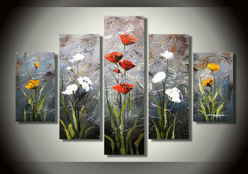 5 pcs of high quality abstract art home decor art painting.Hand-painted the family wall decoration art flowers oil painting.