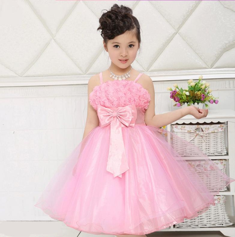 Retail New Fashion 2014 Girls Princess Party Dress Row Rose Flower Kids Clothes Lovly Tutu Dress Cute Toddler Girl Dress 3-8 T(China (Mainland))