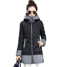 Chaqueta de invierno en algodón acolchada con capucha para mujeres