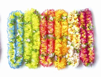 50 pcs Hawaiian Flower Lei Party Supplies Garlands Wreath Cheerleading Products Artificial Flowers Necklace Wholesale HH0001