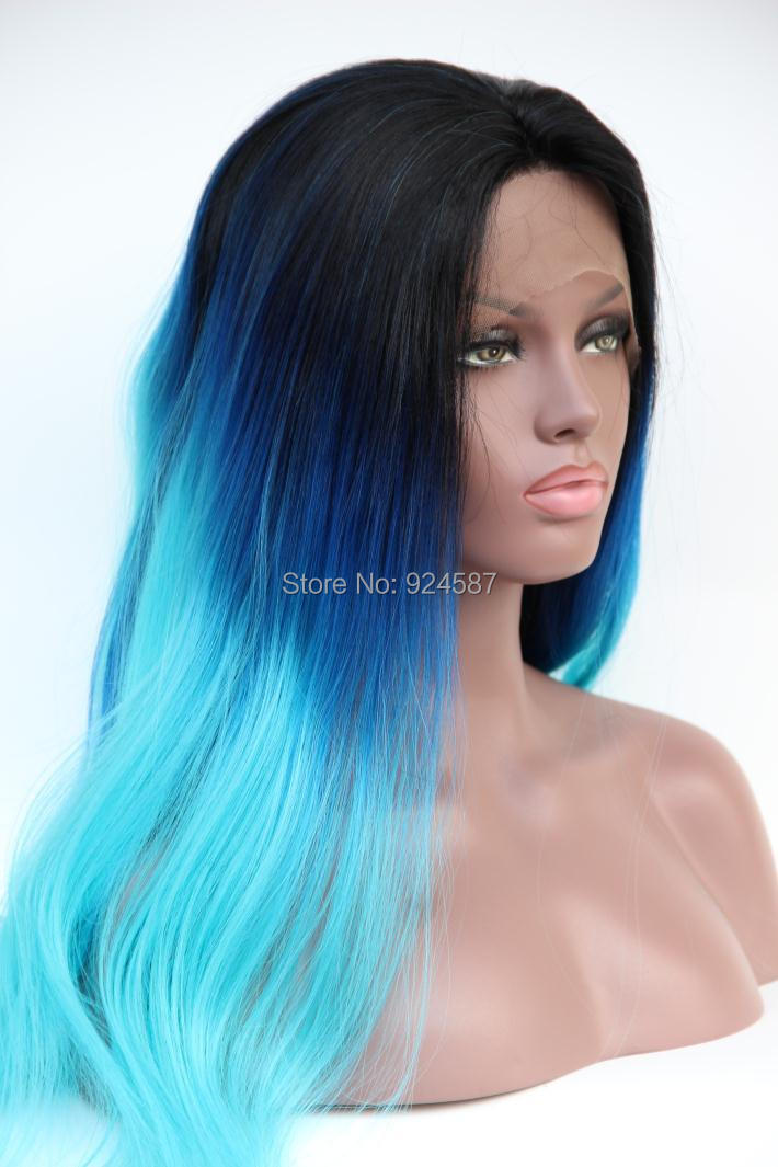 FREESHIPPING Wholesale Heat Resistant Ombre Natural Black/dark blue/light turquoise Tone Color Straight Synthetic Lace Front Wig<br><br>Aliexpress