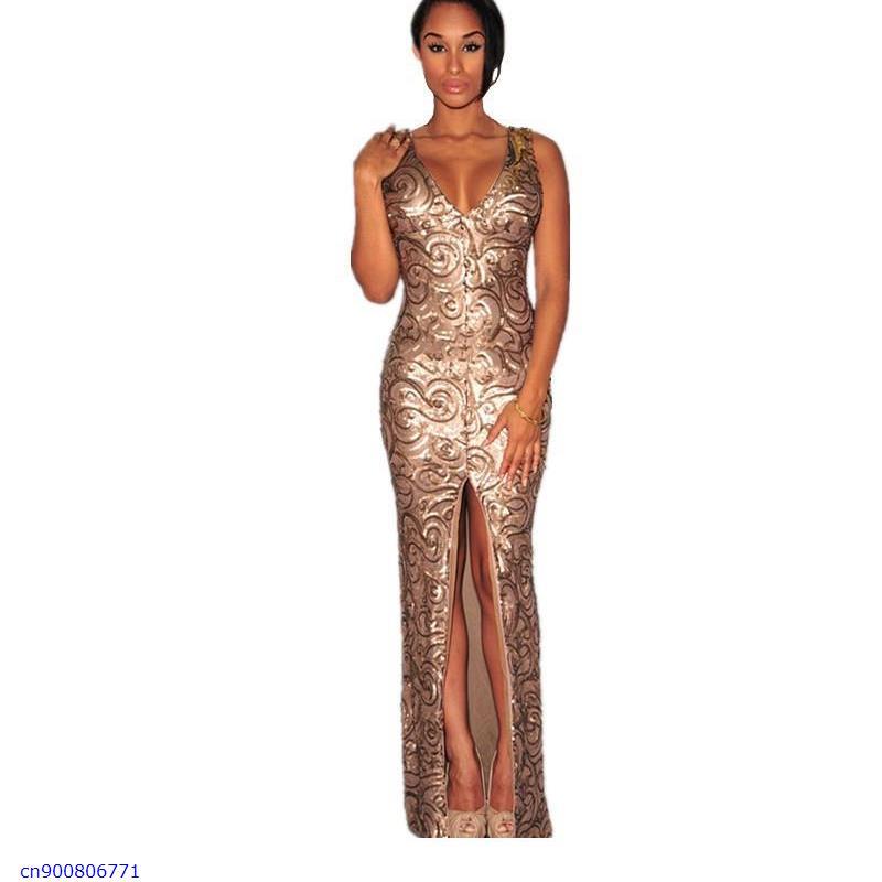Luxury Gold Black Sequin formal   dress Sleeveless Deep V neck Front Slit Padded Maxi Gown vestidos largos LC6907Одежда и ак�е��уары<br><br><br>Aliexpress