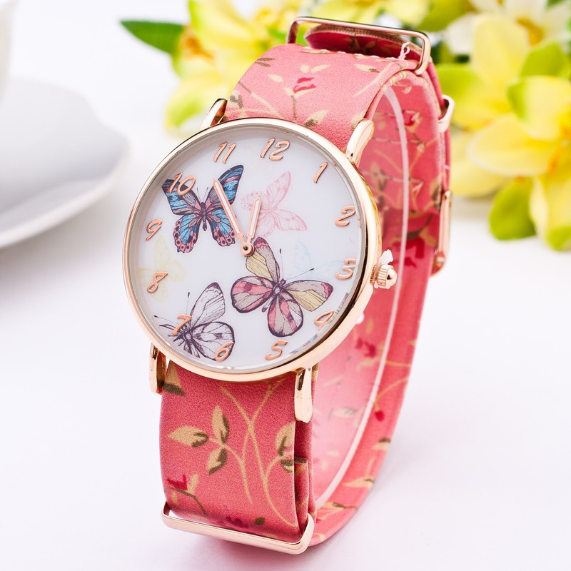 Beauty Fashion Casual Watch Women Ladies Wristwatch 2015 New Style Elegant Genuine Leather Butterfly Pattern Analog Quartz Watch(China (Mainland))