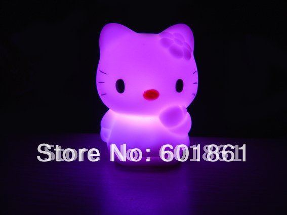 Best Christmas gifts Colorful Hello Kitty LED Night Light Cute 7 Color Changing Baby Kid mood Desk Night Lamps 10pcs/lot