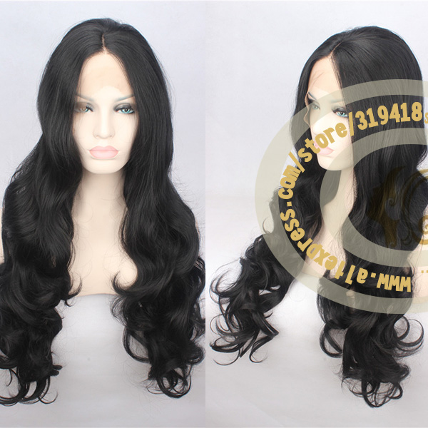 Brazilian Body Wave Heat Resistant Synthetic hair Natural Lace Front Wig For Black Women Long Body Wavy Wigs Free Shipping