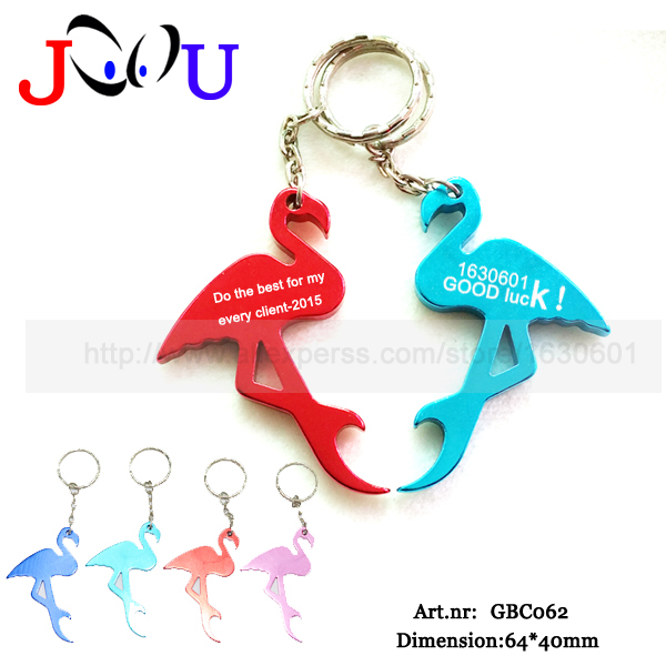 (2000pcs/lot)Top sell custonized aluminum mini flamingo bottle opener keychains / promotion gift key ring/pantone colors is ok(China (Mainland))