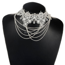 Vintage Lace Black White Elegant Handmade Gothic Statement Necklace Jewelry For Women Choker Pendants Accessories
