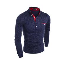 Hot Sell Mens polo shirt Fashion Brand Polka dot printing Lapel long sleeve polo unlined upper garment man Paul shirt SL
