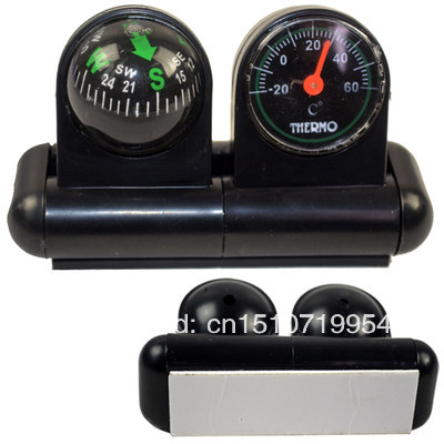 Free Shipping 2 in 1 Boat Car Vehicle Auto Navigation Ball Compass Thermometer Temp New A394 TC7pe(China (Mainland))