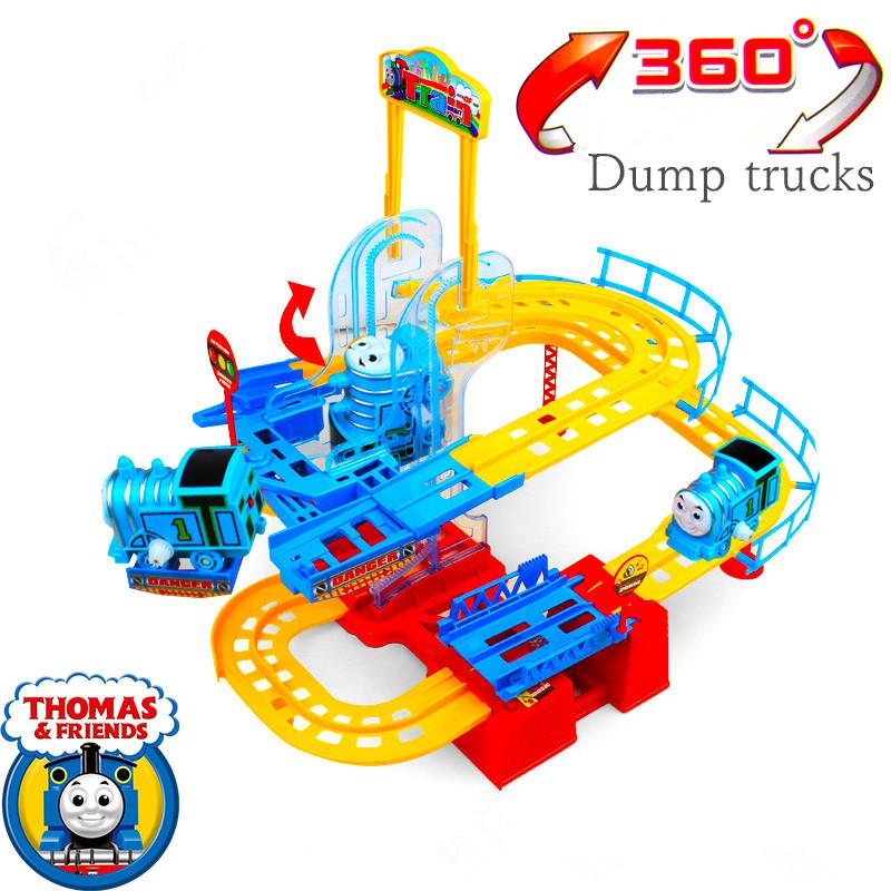 Thomas Electric Dump Slot Train Assembled Light Rail Tracks Creative Children's Birthday Toys Gift Slot Car(China (Mainland))