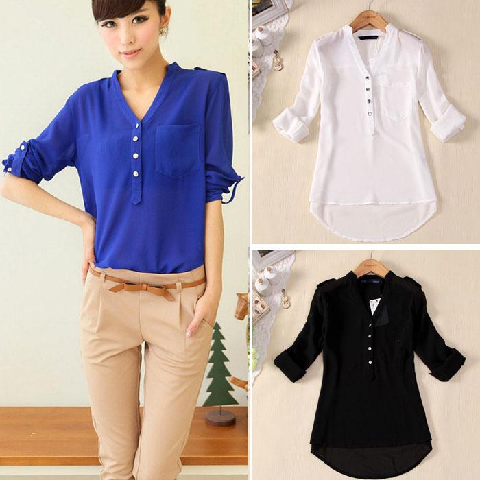 Verão mulheres Chiffon blusa cor de doces causais Chiffon blusas camisa mulheres LK9218